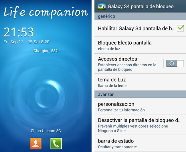 Captura de Samsung Galaxy S IV & Galaxy Note III Lockscreen