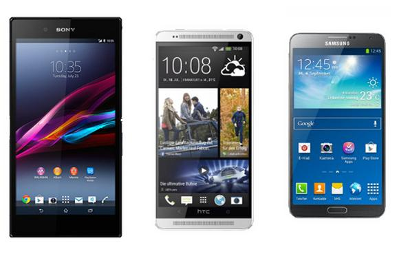 Sony Xperia Z Ultra, HTC One Max y Galaxy Note 3.