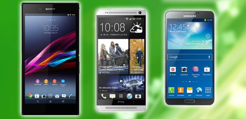 Comparativa: Sony Xperia Z Ultra, HTC One Max y Galaxy Note 3.