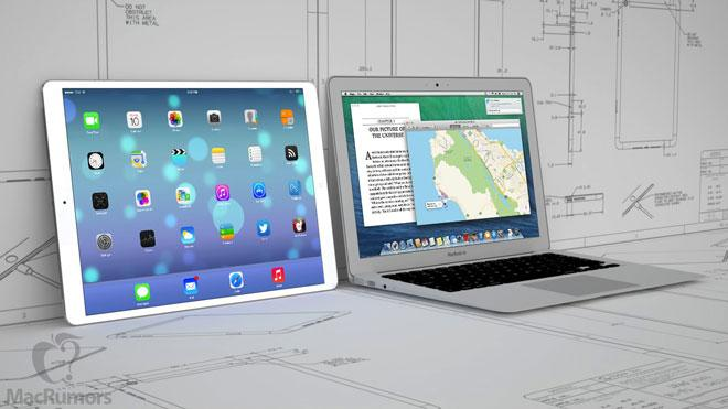 iPad de 12.9 pulgadas frnte a MacBook Air