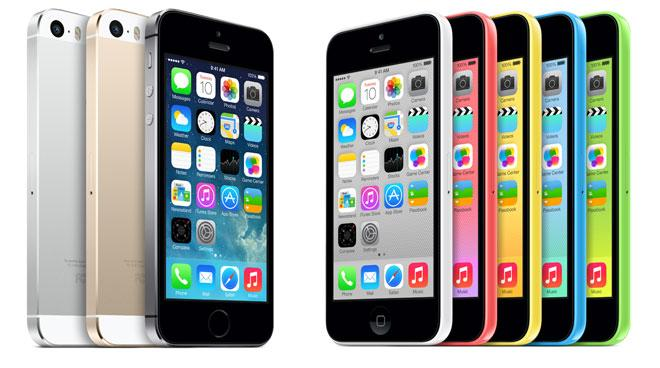 iPhone 5s y iPhone 5c en diversos colores