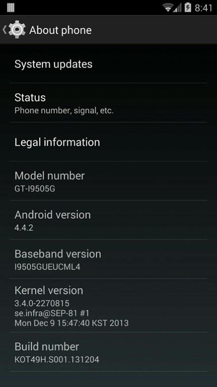Galaxy S4 Google Play Edition 4.4.2