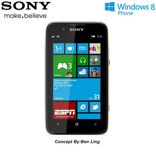 Concepto de smartphone Sony con Windows Phone 8