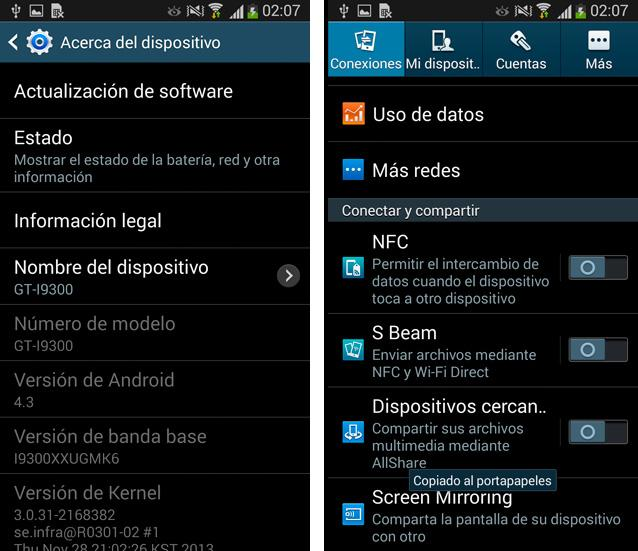 Galaxy S3 update oficial 4.3