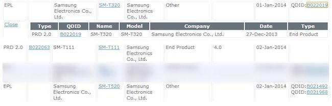 nuevos tablets samsung registro bluetooth sig