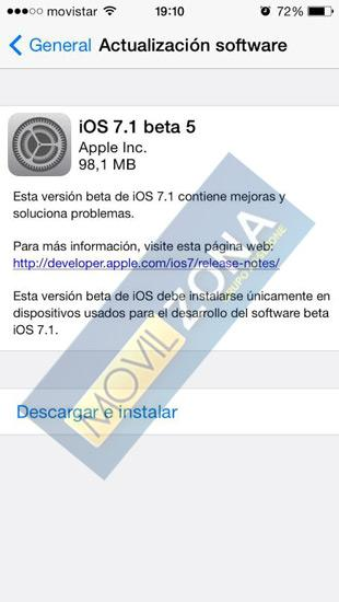 Version de pruebas iOS 7.1 Beta 5