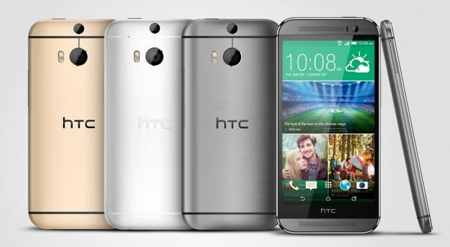 HTC One M8 en colores oro, plata y gris