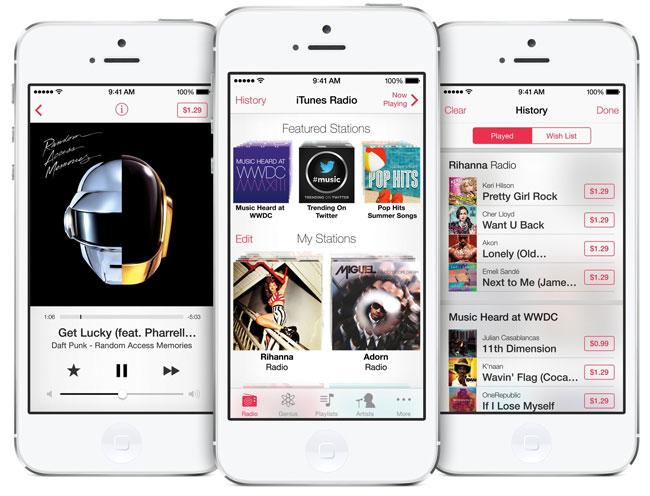 INterfaz de iTunes Radio para iPhone