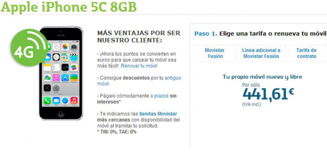 apertura iphone 5c 8gb movistar