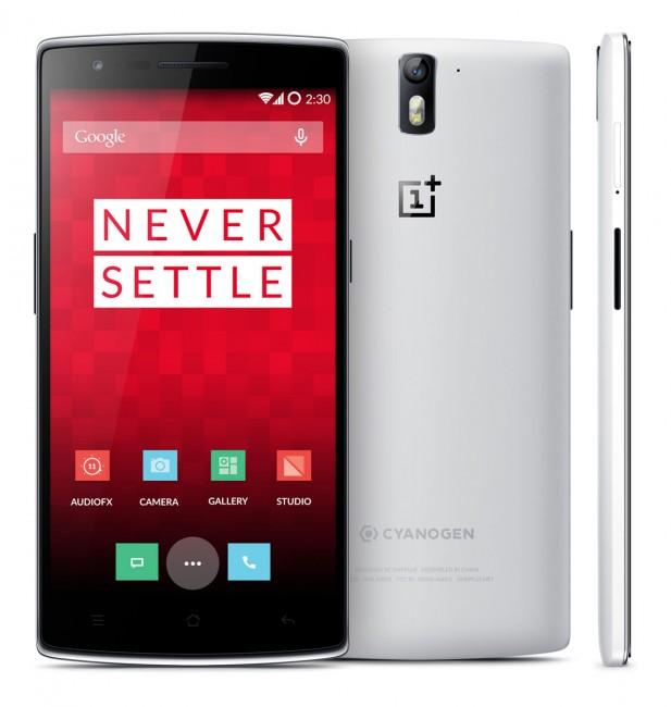 OnePlus One vista frontal, de perfil y trasera en color blanco