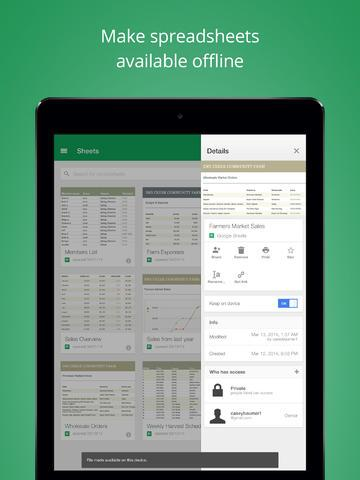 google sheets ios