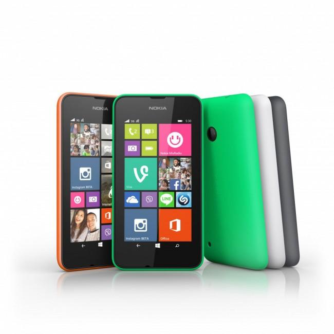 Nokia Lumia 530 en color verde, rojo y blanco