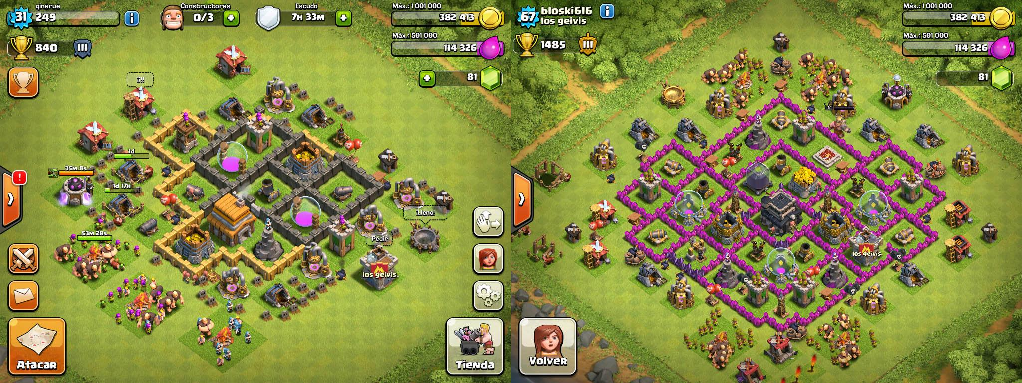 clash of clans comparacion