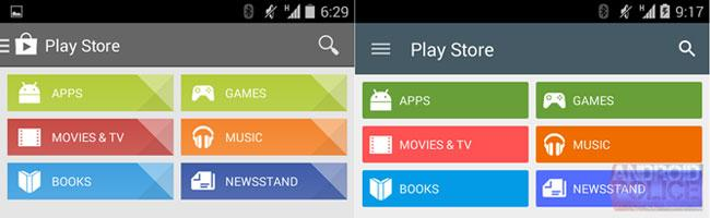 Interfaz Material Design de Google Play