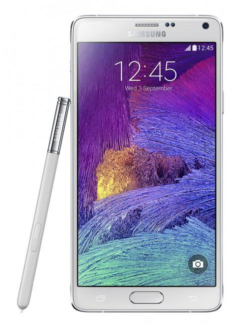 Samsung Galaxy Note 4 en color blanco con su lapiz