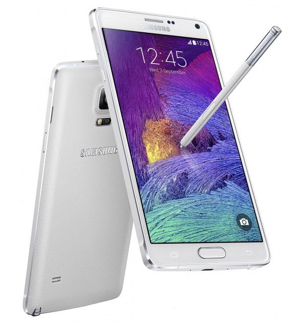 Samsung Galaxy Note 4 en color blanco visto por detrás y por delante