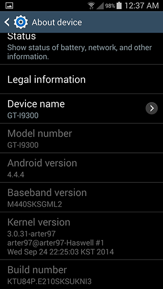 Samsung Galaxy S3 Android 4.4.4