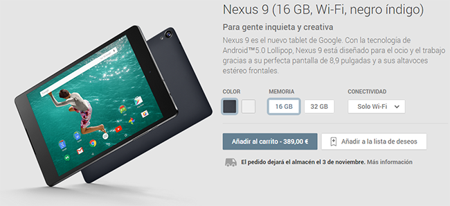 Nexus 9 en Google Play