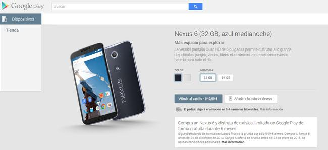Nexus 6 disponible en Google Play