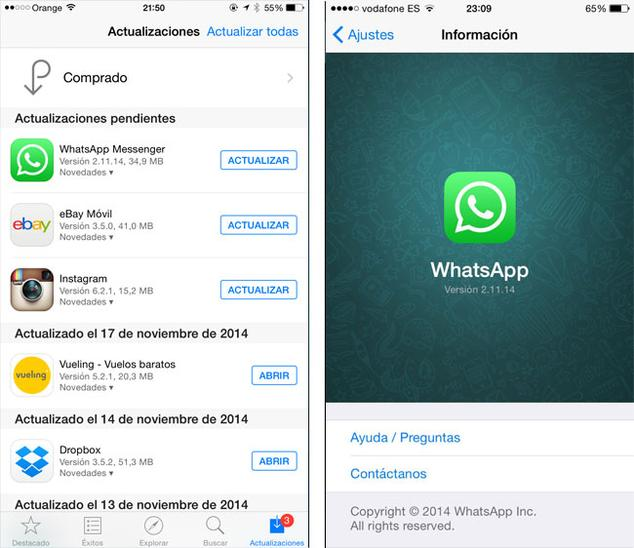 Nueva version de WhatsApp para iPhone 6