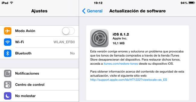 Actualización Apple iOS 8.1.2