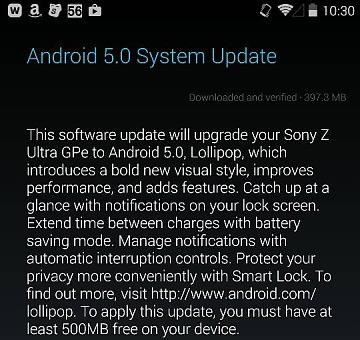 xperia z ultra lollipop
