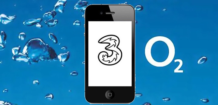 movil con logo de Three y de O2