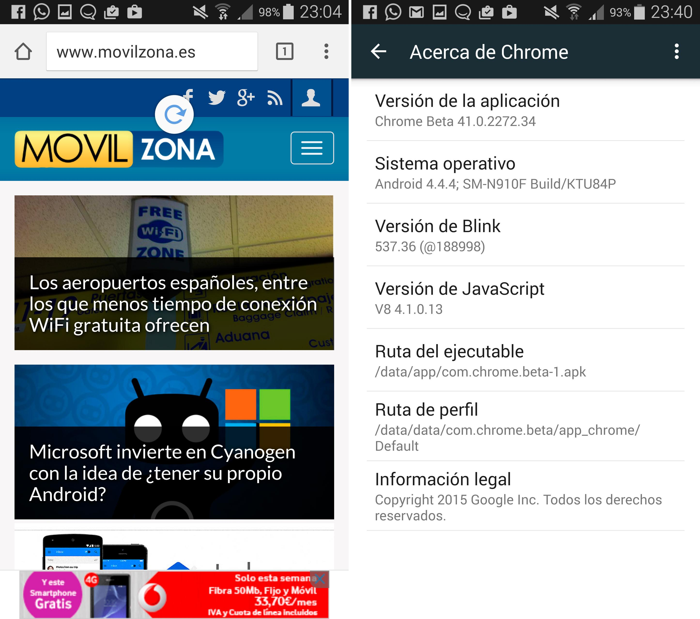 Beta 41 de Google Chrome para Android.