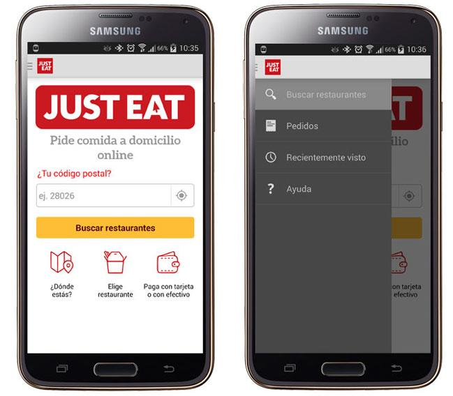 Pantalla de Just Eat