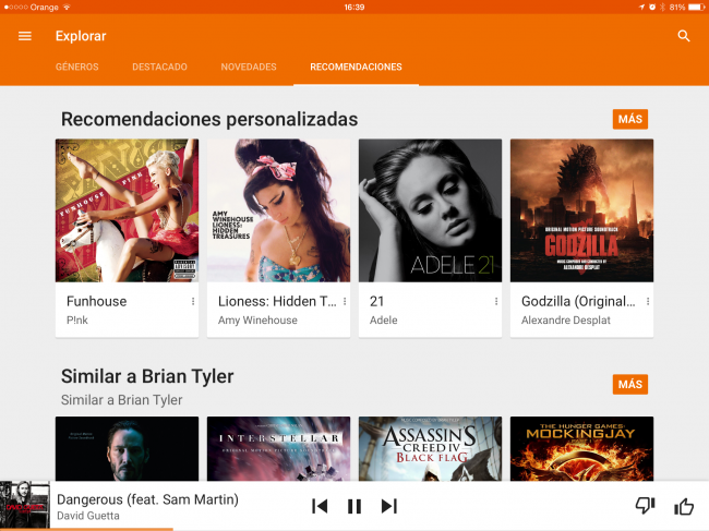 Google Music en iOS con 'material design'.