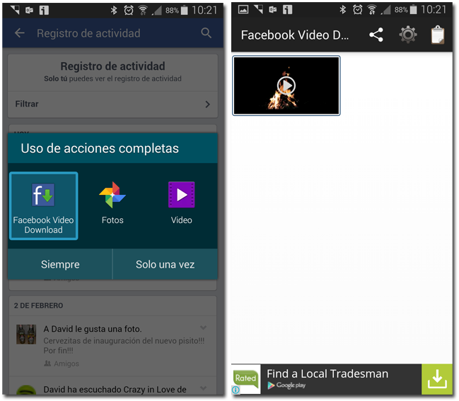 pantallazos facebook video downloader