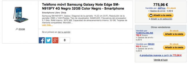 Galaxy Note Edge en FNAC.