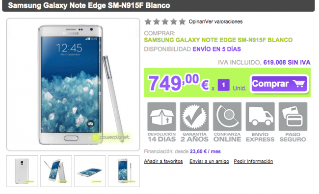 Galaxy Note Edge en Power Online.