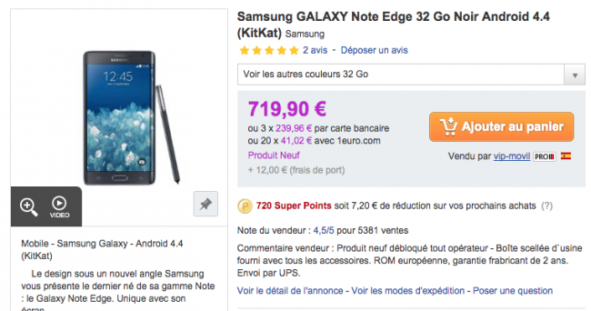 Galaxy Note Edge en Rakuten.