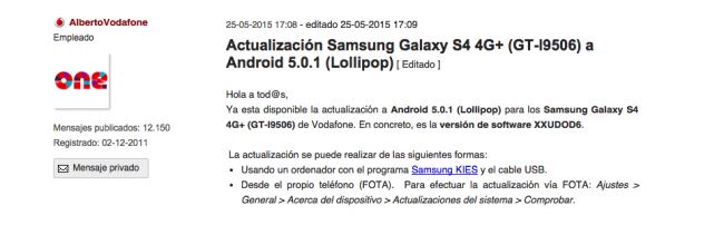 Galaxy S4 4G+ Vodafone con Lollipop.
