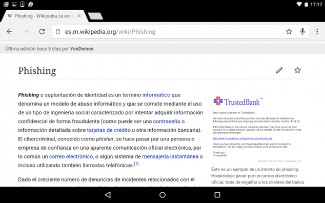 Chrome es vulnerable al phising.