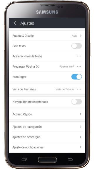 Ajustes de UC Browser