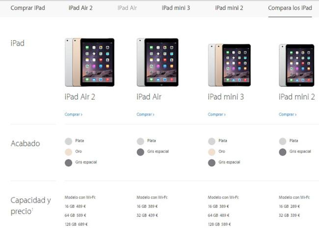 Versiones de iPad mini disponibles