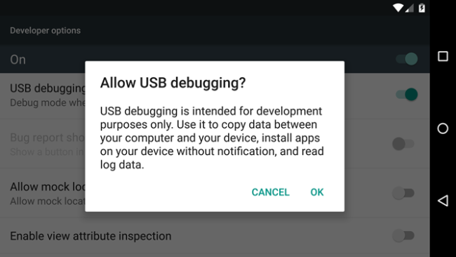 Android debugging mode.