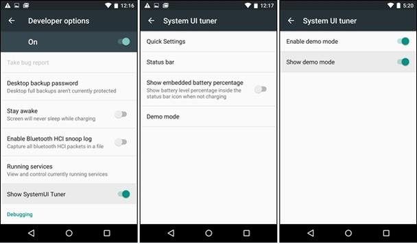 Referenia de Android 5.2 en modo Demo
