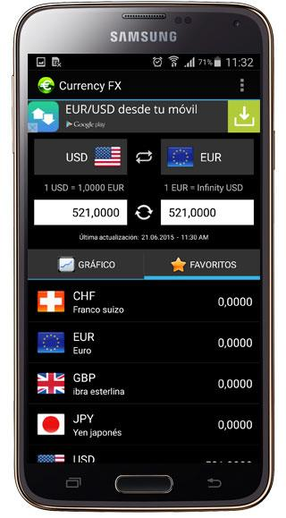 Cambio en Currency FX