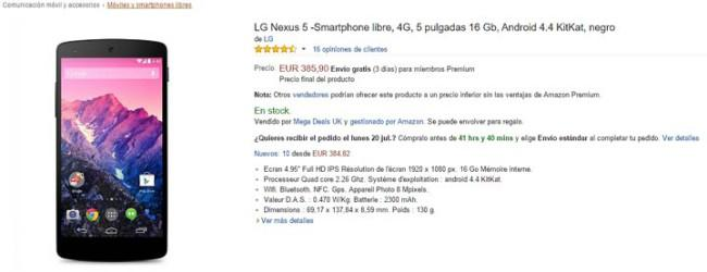 Nexus 5 en Amazon