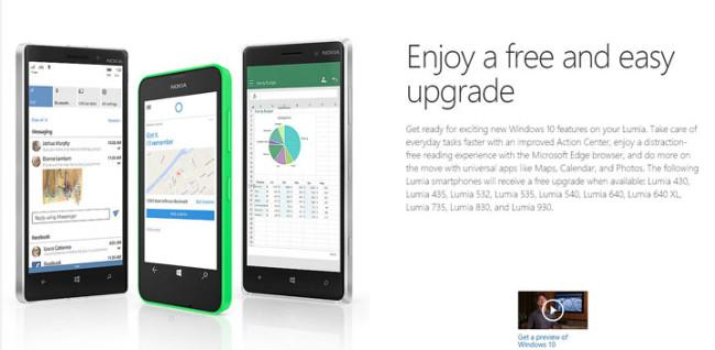 Primeros smartphones Lumia compatibles con Windows 10 Mobile