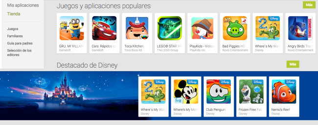Google Play Store entretenimiento familiar.