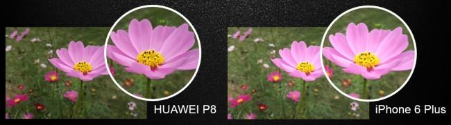 Definición de fotografía de Huawei® P8 vs iPhone 6 Plus