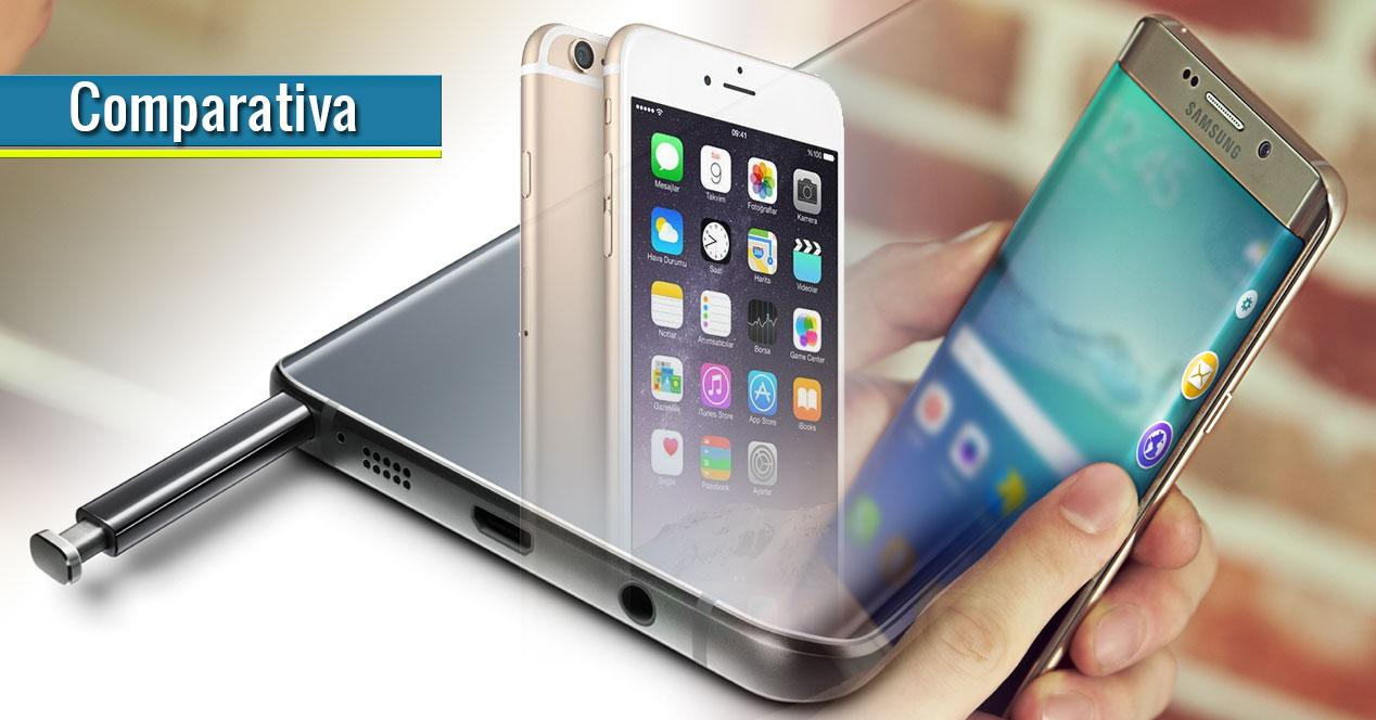 Note 5, galaxy S6 Edge Plus y iPhone 6 Plus