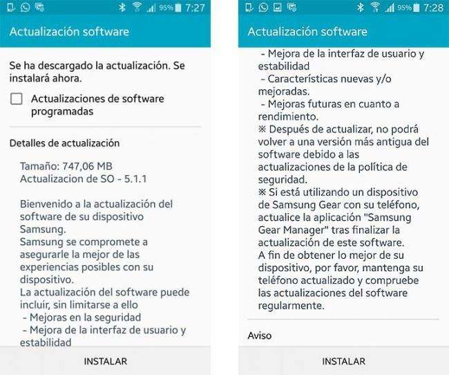 Firmware Android 5.1.1 en el Samsung Galaxy Note 4