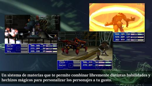 final fantasy VII pantallas combate