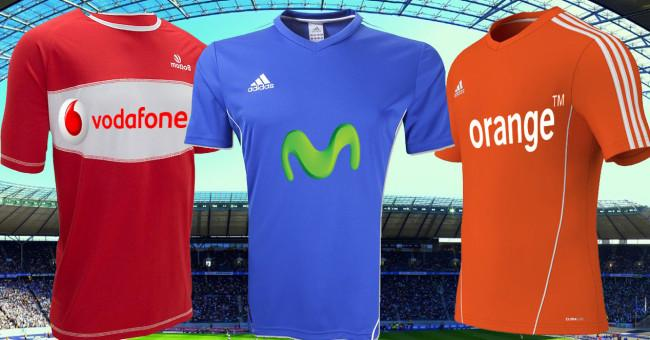 camisetas movistar, orange y vodafone