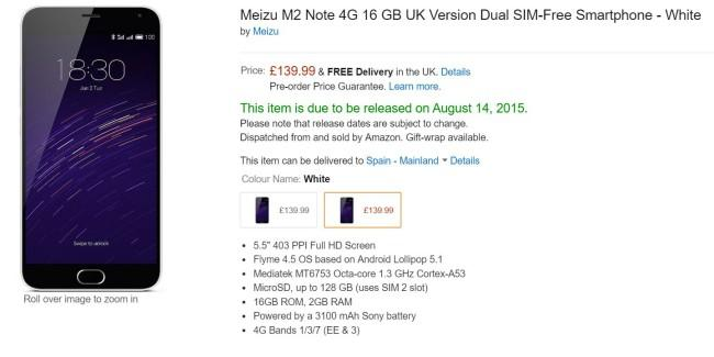 Meizu m2 note amazon